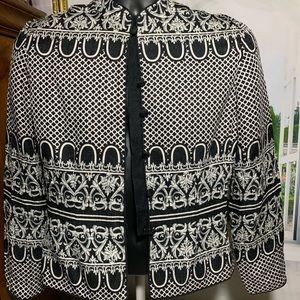 Pappell 100%silk black white blazer T1107